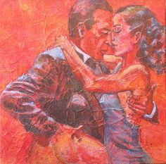 High Stepping III, by Shirley Mancino, 12 x 12 in, collage