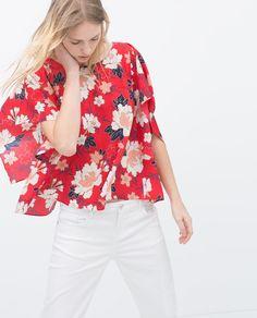 Image 3 of FLORAL PRINT KIMONO SHIRT from Zara