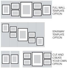 Gallery Perfect 7 Piece Black Photo Frame Wall Gallery Kit with Decorative Art Prints & Hanging Template Gallery Wall Layout, Gallery Wall Frames, Frames On Wall, Wall Collage, Framed Wall Art, Wooden Frames, Gallery Frame Set, Wall Frame Set, Large Frames