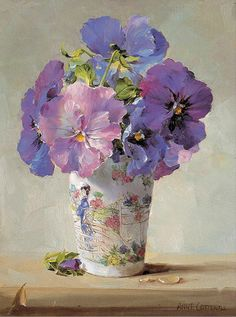 Anne Cotterill (1933-2010) –– Blue Pansies (700×941)