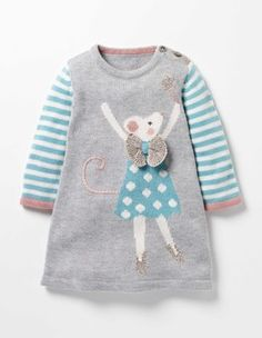 This is some hardcore cute baby girl stuff - Forest Friends Knitted Dress Girls Knitted Dress, Knit Baby Dress, Knitted Baby Clothes, Smock Dress, Baby Outfits, Kids Outfits, Smocked Baby Dresses, Baby Girl Dresses, Crochet Dresses