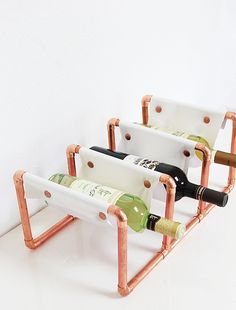 A Bubbly Life: DIY Copper Pipe & Leather Wine Rack