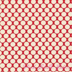 Amy Butler Design Lotus Full Moon Polka Dot Cherry Fabric