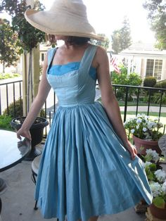 1950's Vintage Garden Party Dress Polished Cotton Two Tone