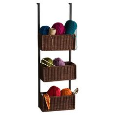 "Wildon Home ® 8.25"" Deep Lynbar Over the Door 3 Tier Basket Storage & Reviews 