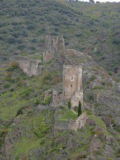 chateau towers, Lastours, Languedoc-Roussillon, France