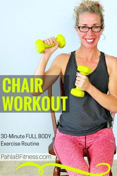 30 Minute CHAIR Workout 30 Minute CHAIR Workout … Tone and tighten while burning fat and calories from a CHAIR! This fabulous all SEATED, NO IMPACT, knee-friendly routine is a perfect full body athletic workout for anybody nursing a lower body injury, wit 300 Workout, Band Workout, Chair Workout, Knee Injury Workout, Pool Workout, Senior Fitness, Fitness Tips, Senior Workout, Cardio Training