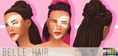 DOWNLOAD BELLE HAIR BASE GAME VERSION***(DROPBOX) I really like how this turned out :D • maxis match • BASE GAME OPTION NOW * • hat compatible • extra ombre colours :D • all lods • no issues i could...