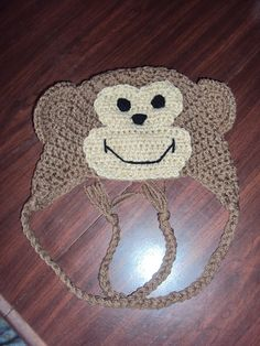 Ravelry: Monkey Hat pattern by Ashley Phelps Crochet Animal Hats, Crochet Kids Hats, Crochet Cap, Crochet Beanie, Cute Crochet, Crochet Crafts, Knitted Hats, Crochet Monkey Hat, Earflap Beanie