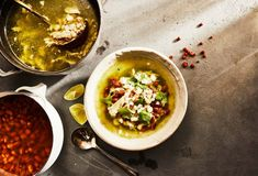 Pati Jinich » Chicken, Hominy and Pinto Bean Stew