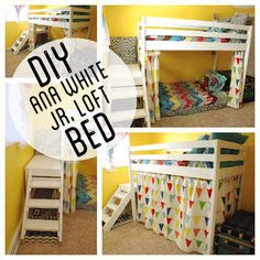 diy loft bed | Kids Wood Loft Bunk Bed with stairs and curtain