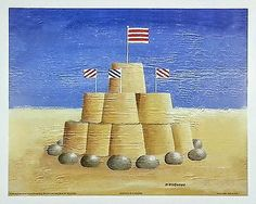 Set of 3 - Beach Prints by Martin Wiscombe, Sandcastle, Deck Chairs, Beach Huts