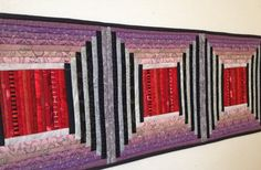 """Quilted table runner. Wall hanging. Mauve and red. 12x48""""  Court house steps. For the table. Modern home decor. Modern geometry. by AnnBrauer on Etsy"""
