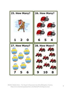 Counting Math Activities & Games: Here are 30 task cards for your preschool, kindergarten or special education classroom. They feature a spring or summer theme but could be used any time of year. The student answer keys are provided in groups of five for frequent checks of understanding and immediate feedback. Student response counting cards, also in groups of five, are also provided. An answer key is provided.