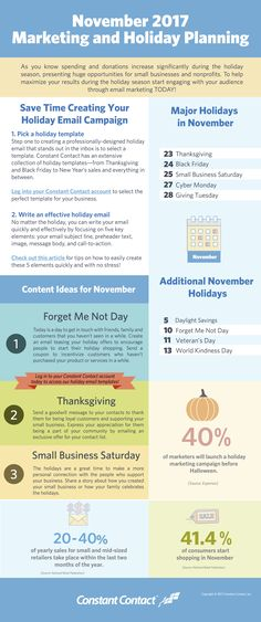 [Infographic] November 2017 Marketing and Holiday Planning November is right around the corner, which means some of the biggest consumer holidays of the year are about to be in full swing. Advertise Your Business, Small Business Marketing, Marketing Plan, Internet Marketing, Online Marketing, Digital Marketing, Social Media Engagement, Major Holidays, Email Campaign