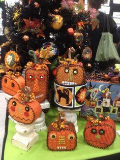 Halloween jack o'lantern pumpkin needlepoint, Melissa Shirley canvases