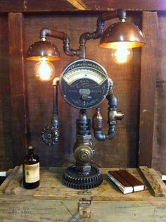 Steampunk Lamp Industrial Art Machine Age Light Steam Gauge Weston Voltmeter- this is perfect