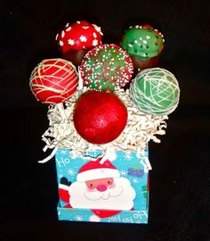 Christmas Cake Pops ..... display in small gift boxes from Hobby Lobby