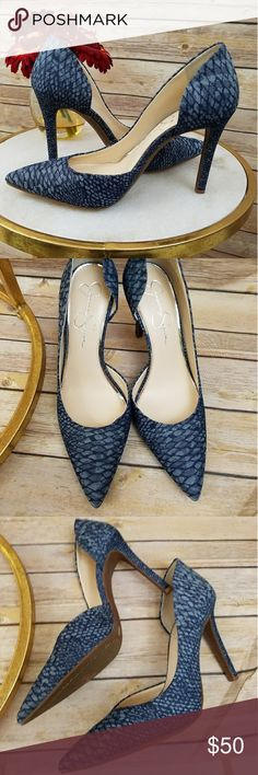 NWOT Jessica Simpson Claudette Blue Denim Product details  😍 Gorgeous Jessica Simpson Claudette Pump Heels Denim upper material - snake skin pattern Lightly cushioned heel foot bed Man made sole Pointed Toe Canvas Heel height: 3.75.  New never worn. In excellent condition. Jessica Simpson Shoes Heels