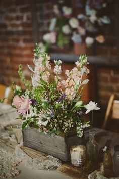 10 Trending Spring Wedding Ideas: Skip the vases for your wedding centerpieces and use flower boxes for your wedding flower arrangements. Barn Wedding Centerpieces, Wildflower Centerpieces, Wedding Bouquets, Wedding Decorations, Chalkboard Centerpieces, Table Decorations, Flower Box Centerpiece, Succulent Centerpieces, Centerpiece Ideas