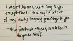 vita sackville-west letter to virginia woolf
