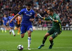 Costa looks to take the ball round Hull goalkeeper David Marshall but fails to find the back of the net for Chelsea