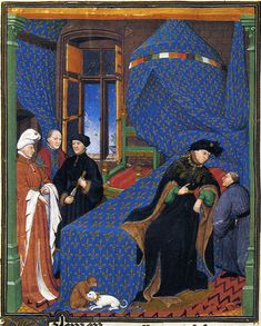 Pierre Salmon in discussion with King Charles VI of France, 1412-15. From Pierre Salmon, Dialogues. Bibliothèque publique de Genève: Geneva ms. 165, fol. 4.