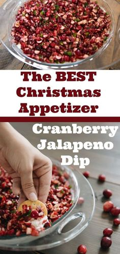christmas food Cranberry Jalapeno Dip is the BEST holiday appetizer. christmas food Cranberry Jalapeno Dip is the BEST holiday appetizer you can take to Th Jalapeno Dip, Jalapeno Pepper, Cranberry Cream Cheese Dip, Cranberry Salsa, Jalapeno Recipes, Appetizer Dips, Best Appetizers, Delicious Appetizers, Appetizer Recipes