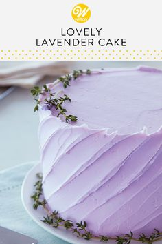 Decorated with a spatula and garnished with herbs, this stunning lavender cake is simple to make, but looks professionally done! Personalize your cake with a piped message or candles to suit your celebration! #wiltoncakes #cakes #birthday #birthdaypartyideas #birthdaycake #birthdaycakeideas #birthdaydesserts #birthdaythemes #birthdaytreats #birthdayideas #birthdaypartyfood #classicbirthdaycakes #colorful #colorfulcakeideas #cakeideas #buttercream #frosting #buttercreamfrosting…