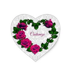 Shop Personalized Rose Vine Heart Heart-Shaped Stickers created by BlueRose_Design. Rose Vines, Different Shapes, Custom Stickers, Note Cards, Heart Shapes, Colorful Backgrounds, Activities For Kids, Diy Projects, Valentines