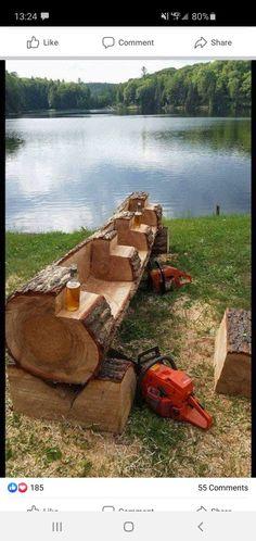 Log Furniture, Garden Furniture, Furniture Ideas, Outdoor Furniture, Garden Projects, Garden Tools, Diy Wood Countertops, Rustic Gardens, Backyard Landscaping