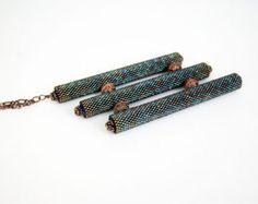 Geometric Jewelry Beaded Necklace Peyote Stitch Beaded Jewelry Bead Tube Jewelry Midnight Blue
