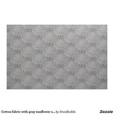 Cotton fabric with gray sunflower seamless pattern