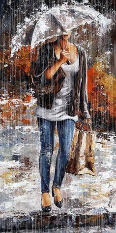 Rainy Day - Woman Of New York 06 by Emerico Imre Toth - Rainy Day - Woman Of New York 06 Painting - Rainy Day - Woman Of New York 06 Fine Art Prints and Posters for Sale Rain Art, Umbrella Art, Illustration Art, Illustrations, African American Art, Rainy Days, Rainy Morning, Black Art, Love Art