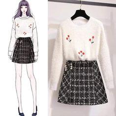 Diy Ropa Coreana 45 New Ideas Korean Girl Fashion, Ulzzang Fashion, Korea Fashion, Cute Fashion, Look Fashion, Fashion Outfits, Fashion Drawing Dresses, Fashion Illustration Dresses, Cute Fall Outfits