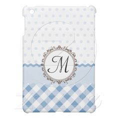 Blue Polkadots, Checks and Stripes with Monogram ipad mini cases