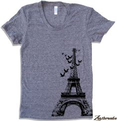 Womens EIFFEL TOWER T Shirt american apparel S M L XL  (15 Colors Available)