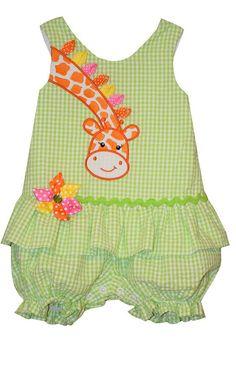Bonnie Baby Girl Giraffe Seersucker Bubble Romper (0m-24m) (6-9 months) Baby Dress Pattern Free, Baby Girl Dress Patterns, Baby Clothes Patterns, Baby Girl Dresses, Toddler Dress, Toddler Outfits, Kids Outfits, Toddler Girls, Baby Girl Pants