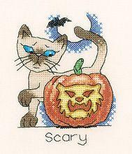 October Cat Halloween Cross Stitch Kit Siamese Cat Heritage Crafts 60 Off RRP | eBay