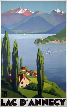 PLM - Lac d'Annecy - France - 1930 - illustration de Roger Broders