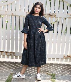 Black and Blue Ikat Bell Sleeve Midi Dress Long Dress Design, Dress Neck Designs, Designs For Dresses, Kalamkari Dresses, Ikkat Dresses, Long Gown Dress, Frock Dress, Long Midi Dress, Frock Models