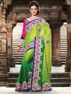Green Jacquard Saree With Embroidery Work www.saree.com