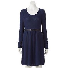 LC Lauren Conrad Fit and Flare Sweater Dress in Peacoat