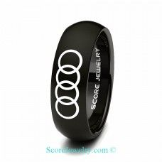 Black Tungsten Band with Domed Edge Audi Logo Ring
