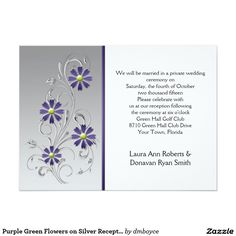 Purple Green Flowers on Silver Reception Only 5.5x7.5 Paper Invitation Card