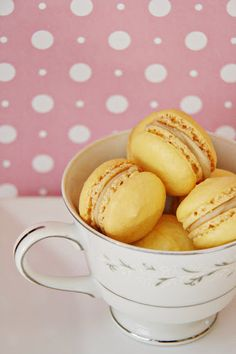 Coconut Macarons with Toffee Filling!