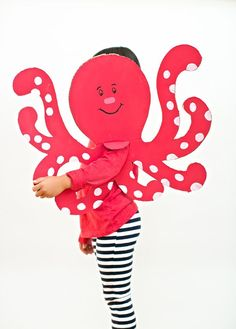 Easy Octopus Cardboard Costume for Kids. This is a super easy Halloween costume for kids they can customize in any color and creature!