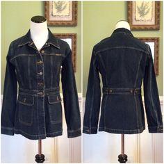 "Liz Claiborne. Denim Jacket Extra nice jacket in excellent condition !!!  Measures 26"" from shoulder to hem. Bust 20"". Waist 16"". Front pockets. Adjustable waist. Liz Claiborne Jackets & Coats Jean Jackets"