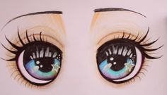 Draw Eye Painting, Doll Painting, Cool Eye Drawings, Doll Face Paint, Doll Making Tutorials, Disney Animator Doll, Flower Pot Crafts, Cartoon Faces, Doll Eyes