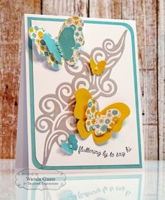 Fluttering By Card by Wanda Guess #Cardmaking, #JustBecause